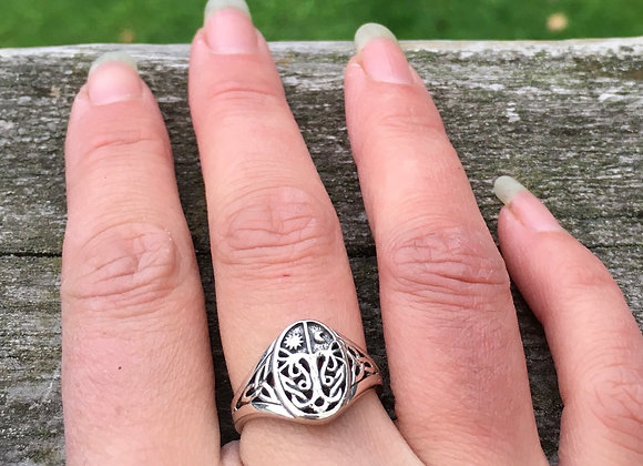 Celtic tree of life / sun and moon ring