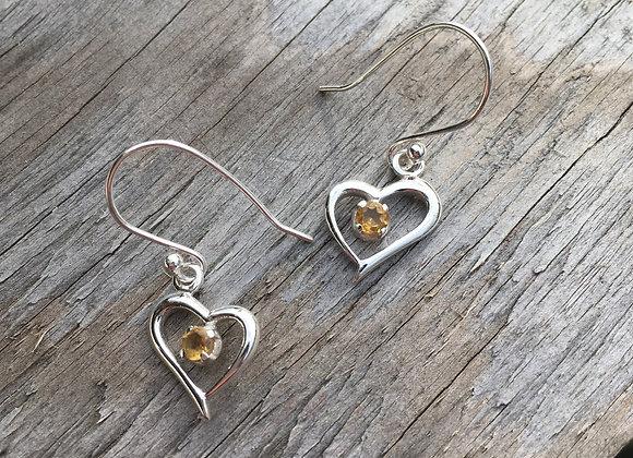 Citrine heart earrings