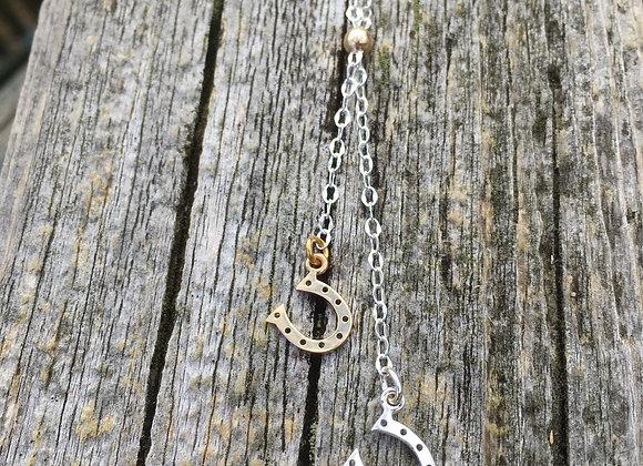 Little horseshoe lariat style necklace