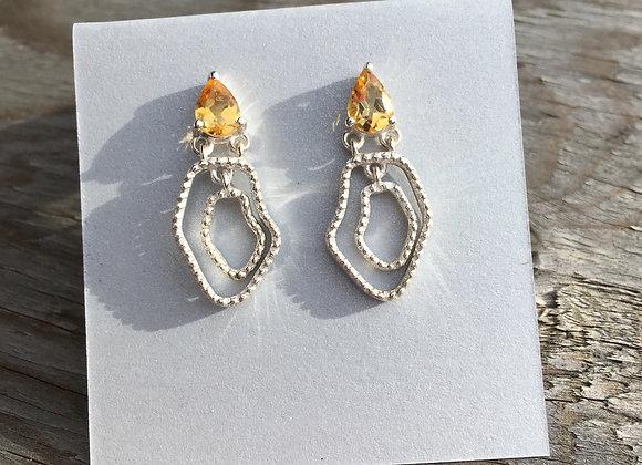 Citrine stud drop earrings