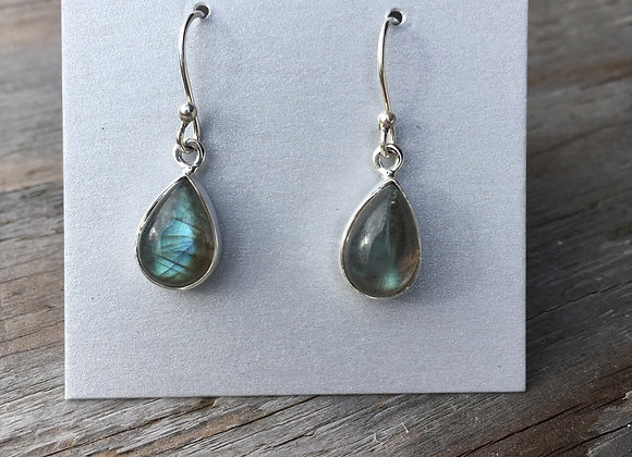 Teardrop simple labradorite earrings