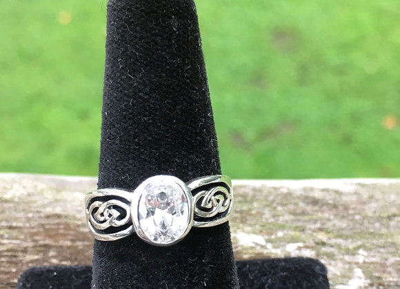 Cubic zirconia bezel set Celtic ring