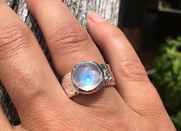 Marija Designs wide band moonstone ring