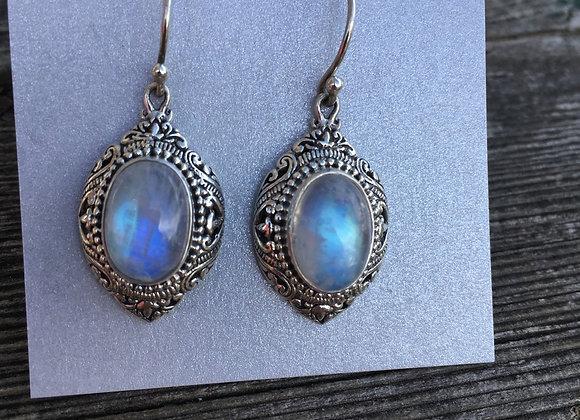 Rainbow moonstone ornate setting earrings