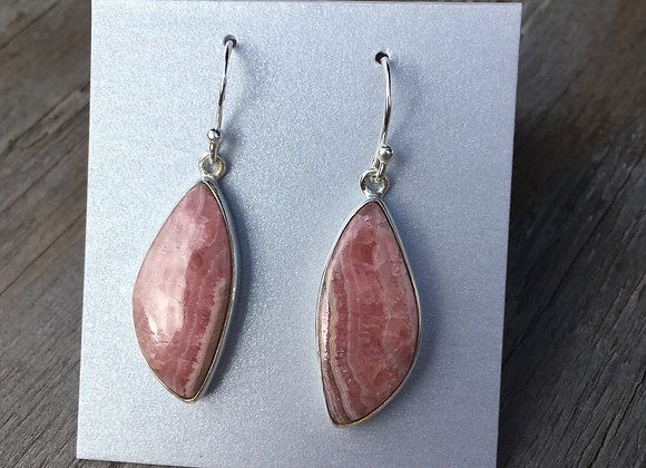 Asymmetrical rhodochrosite earrings