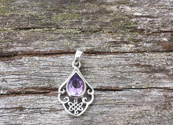 Amethyst celtic knot pendant