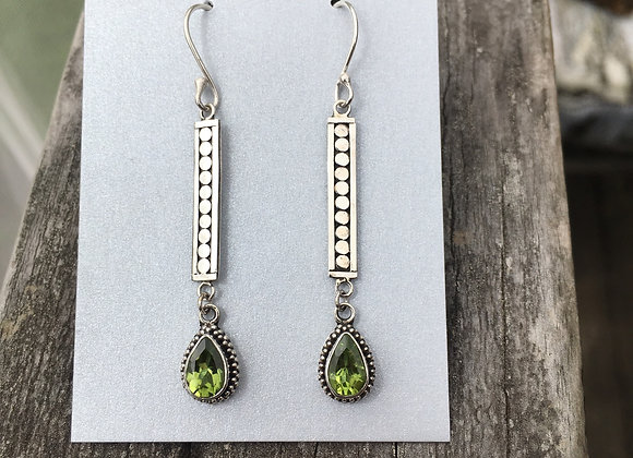 Long peridot teardrop earrings