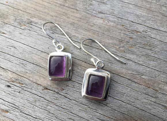 Rectangle cabochon amethyst earrings