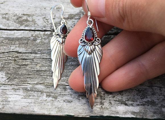 Garnet wing earrings