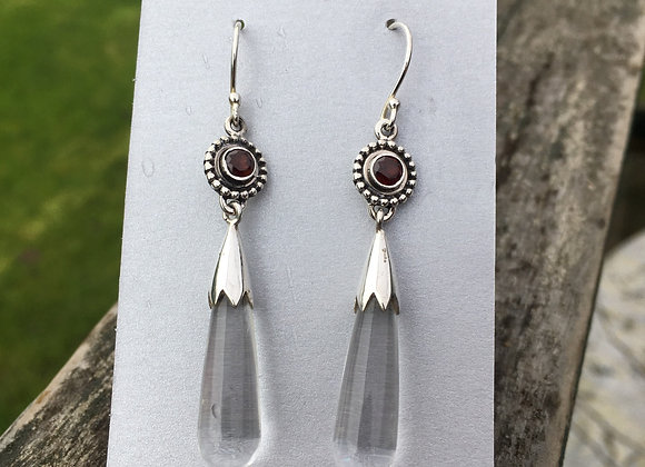 Garnet and clear quartz drop earrings