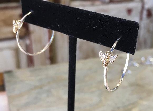 Bronze honeybee silver hoops