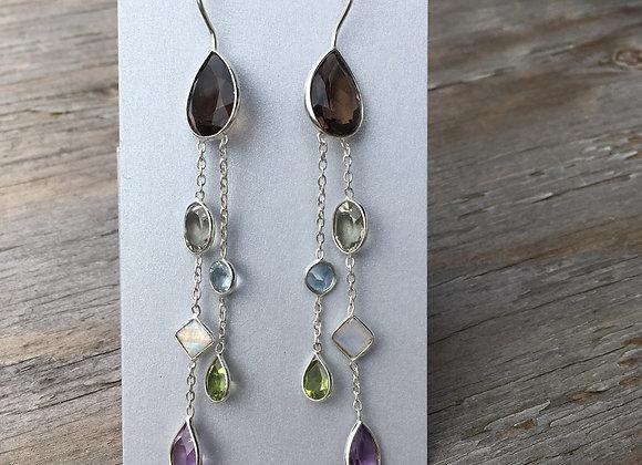 Multi stone cascade earrings