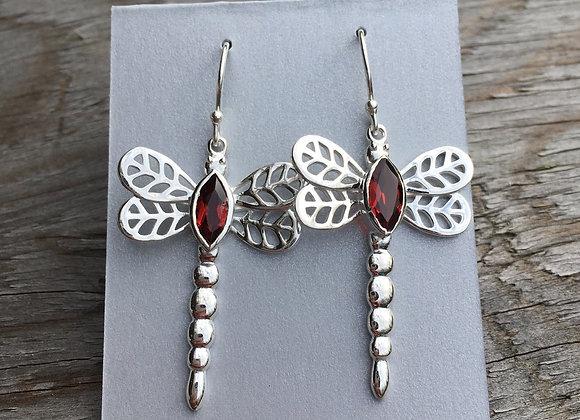 Garnet dragonfly earrings