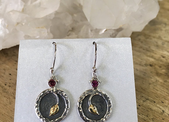 Roulette 18 garnet lotus bud earrings