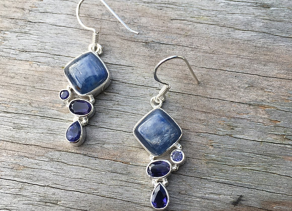 Multi stone kyanite and iolite earrings