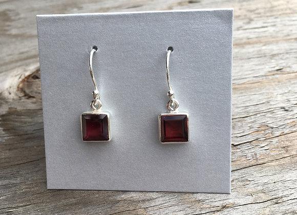 Square garnet earrings