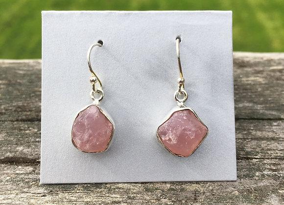 Rough rose quartz earrings