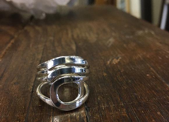 Silver cutout circle ring