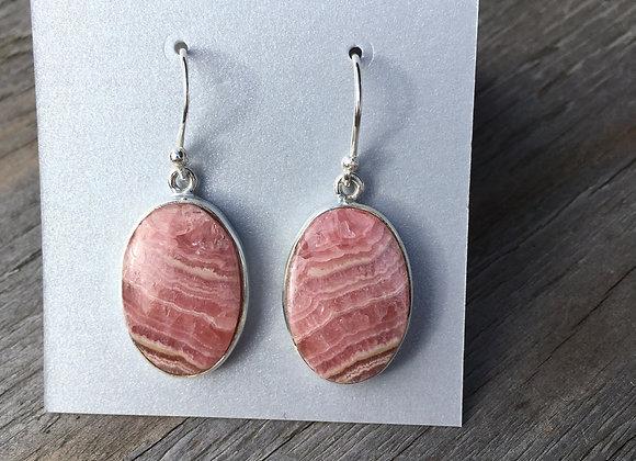 Rhodochrosite large oval earrings