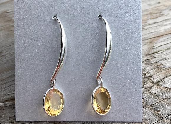 Long drop citrine earrings