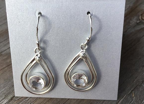 Floating quartz drop earrings