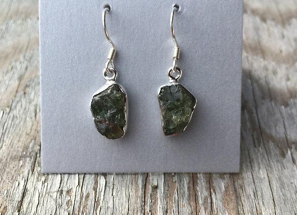 Rough peridot earrings