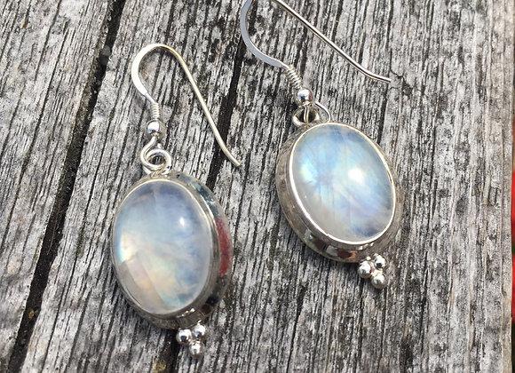 Large oval moonstone earrings