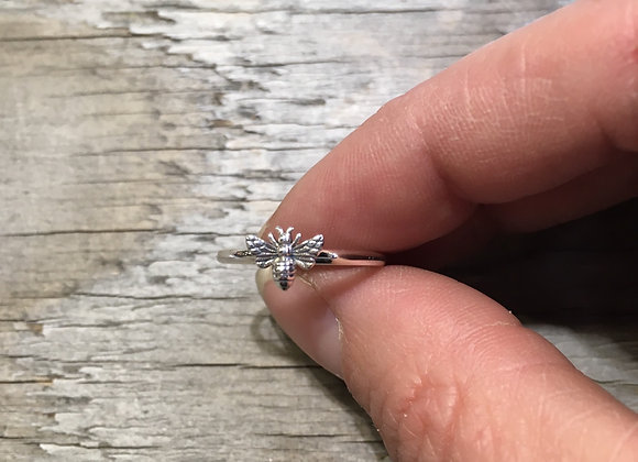 Tiny silver bee stacker ring