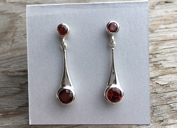 Garnet two stone stud drop earrings