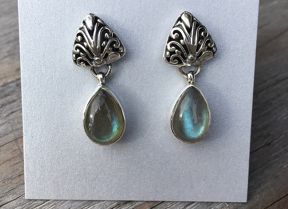 Stud drop labradorite drop earrings