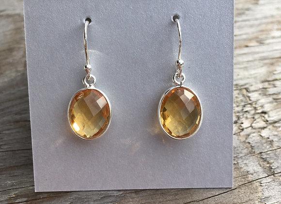 Simple oval golden citrine earrings