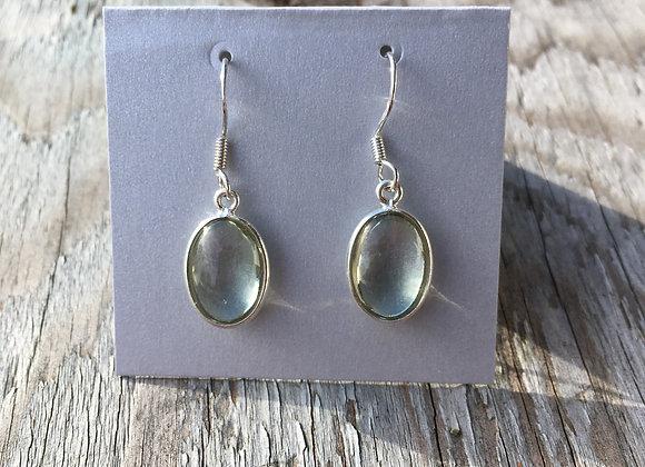 Simple cabochon oval green amethyst earrings