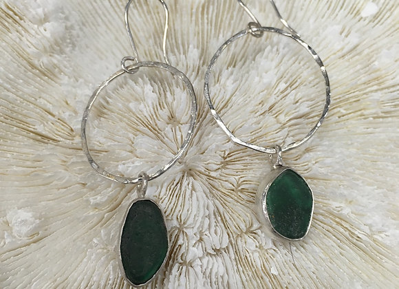 Waters Edge Silver sea glass earrings