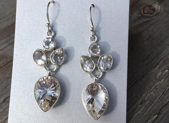 Clear quartz multi stone earrings