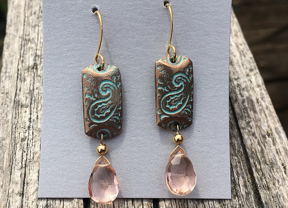 Alasha bronze rectangle with pink drop
