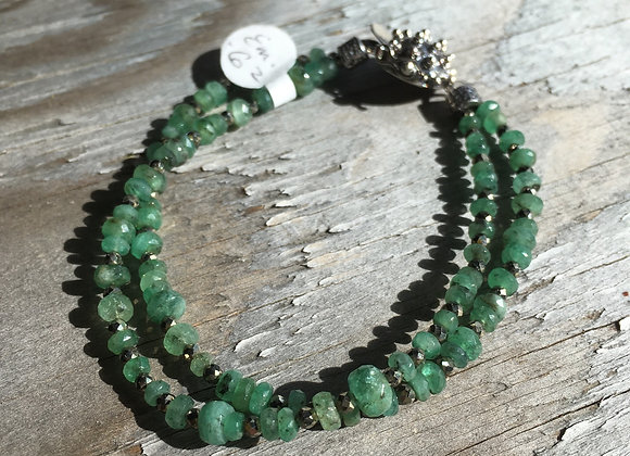 Two strand emerald and pyrite bracelet