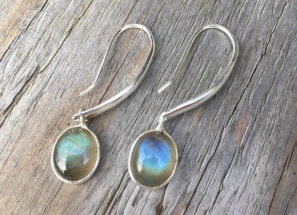 Long drop labradorite earrings