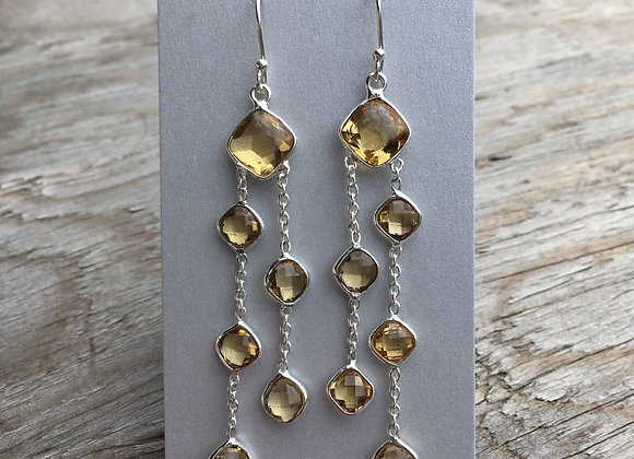 Long citrine dangle earrings