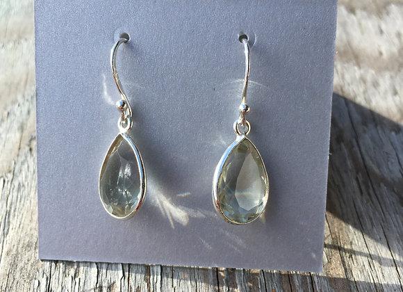 Simple teardrop green amethyst earrings
