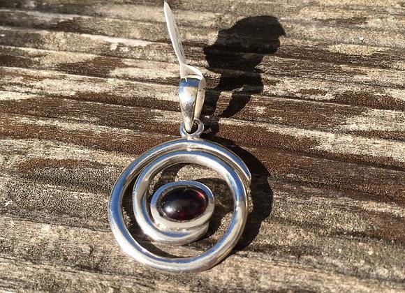 Garnet spiral of life pendant