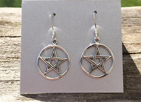 Pentagram in circle earrings