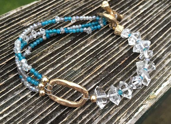 GenVie designs apatite and Herkimer diamond bracelet