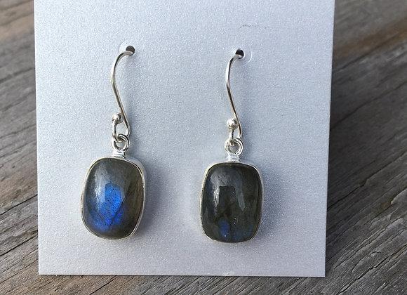 Soft rectangle labradorite earrings