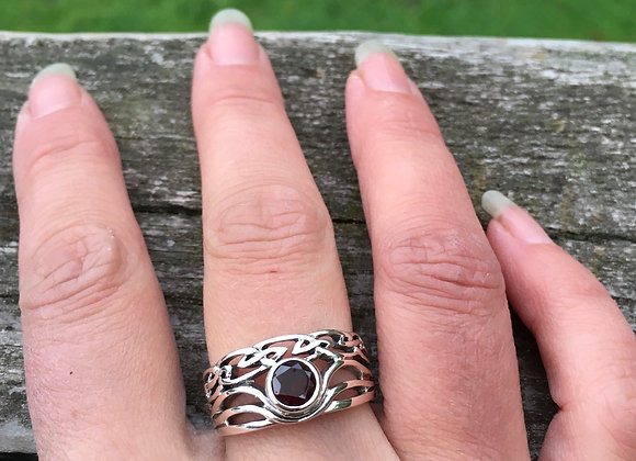 Double band garnet celtic ring