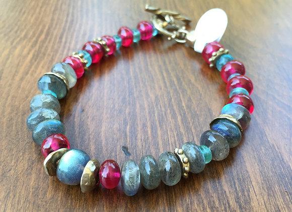 Bosco Bling Labradorite and pink spinel bracelet