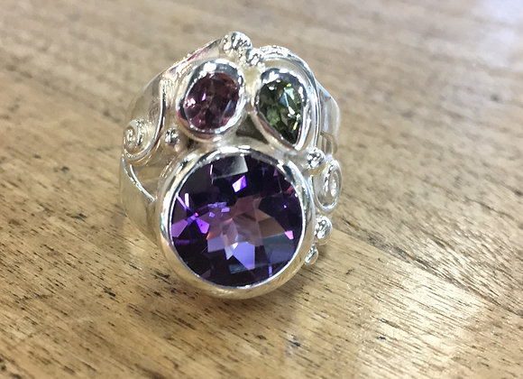 Marija amethyst and tourmaline ring
