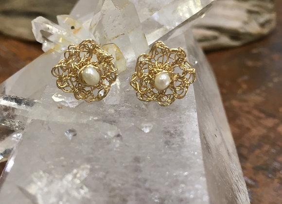 Streetcat Designs gold fill crochet pearl studs