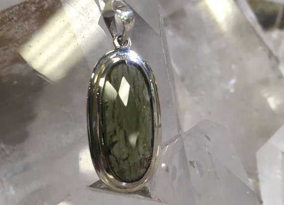 Facet top raw back moldavite pendant