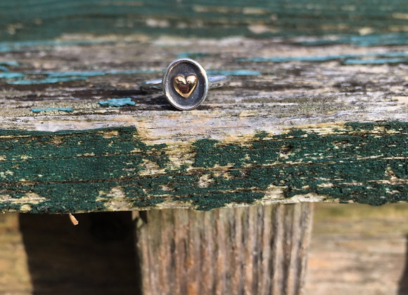 Bronze and oxidized silver heart ring
