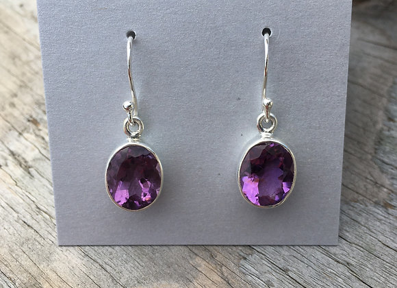 Medium faceted oval amethyst earrings